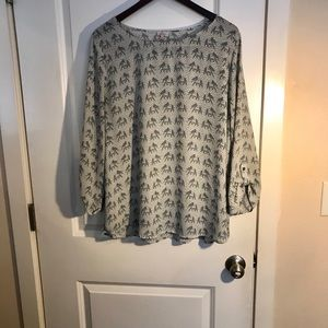 Gray and off white Elephant Blouse by Pixley